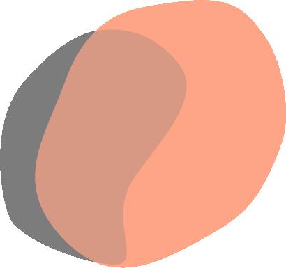 Bright coral paint splotch with grey splotch overtop