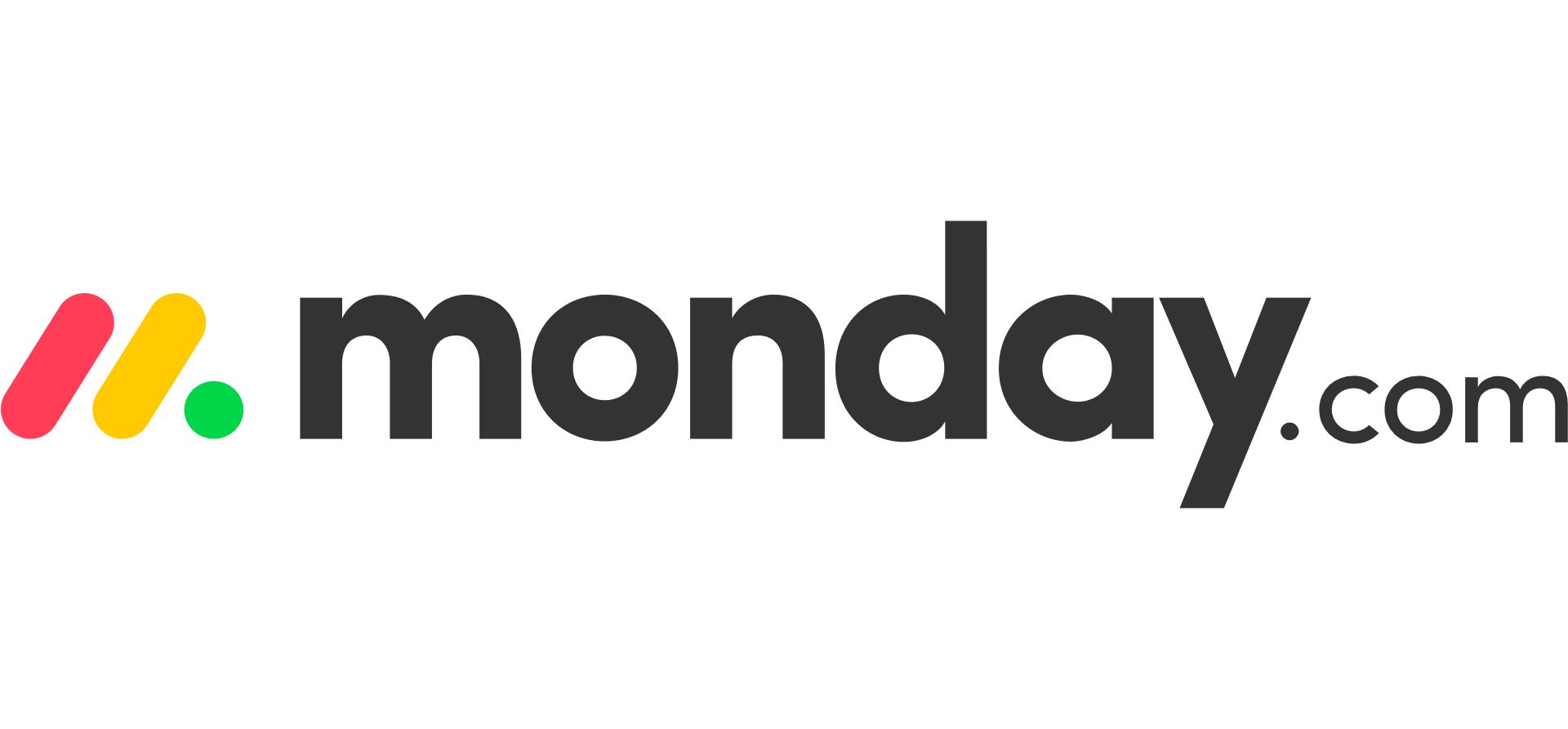 Monday.com workmark, with two dashes, one pink and one yellow, and green period to the left of the text