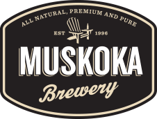 Muskoka Brewery logo, a wordmark in front of a brown background with a Muskoka chair above the text