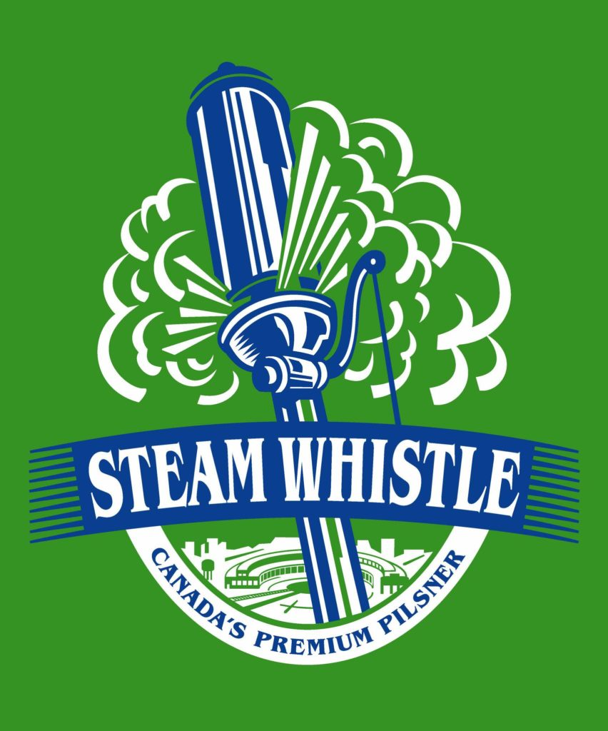 Steam whistle logo, with large blue steam whistle and wordmark over green background